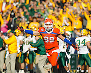 Sam Houston State Bearkats tight end Shane Young (89) calls out to a referee during the FCS title game against North Dakota State at FC Dallas Stadium in Frisco, Texas, on January 5, 2013.  (Stan Olszewski/The Dallas Morning News)