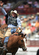 Bareback Rider Ryan Stutes scores a 63 riding Calamity Jane, 26 July 2007, Cheyenne Frontier Days