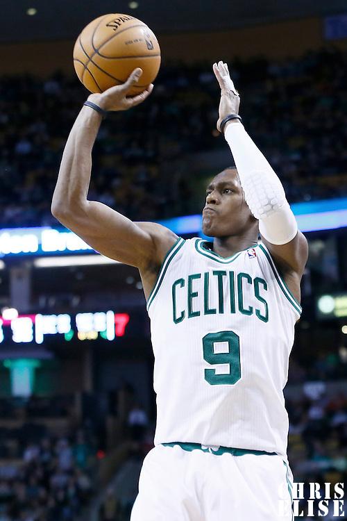 19 December 2012: Boston Celtics point guard Rajon Rondo (9) takes a jumpshot during the Boston Celtics 103-91 victory over the Cleveland Cavaliers at the TD Garden, Boston, Massachusetts, USA.
