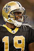 NEW ORLEANS, LA - DECEMBER 26:   Devery Henderson #19 of the New Orleans Saints smiles during a game against the Atlanta Falcons at Mercedes-Benz Superdome on December 26, 2011 in New Orleans, Louisiana.  The Saints defeated the Falcons 45-16.  (Photo by Wesley Hitt/Getty Images) *** Local Caption *** Devery Henderson
