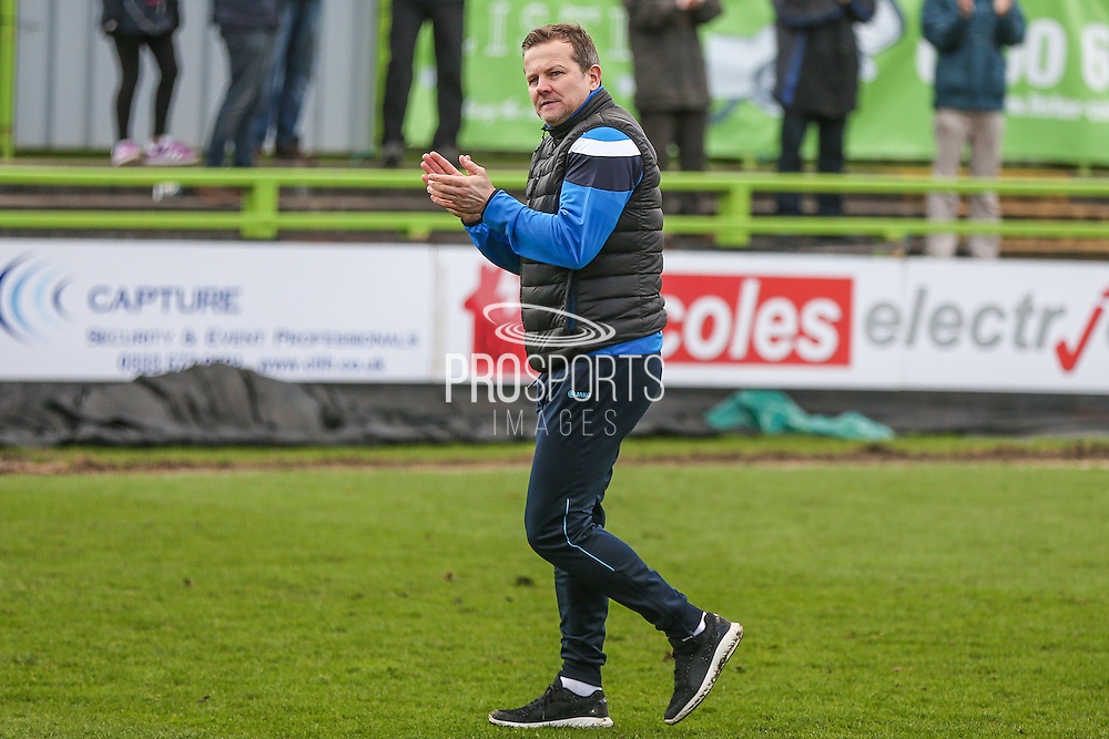 Forest Green Rovers manager, Mark Cooper applauds the fans during the Vanarama National League match between Forest Green Rovers and Macclesfield Town at the New Lawn, Forest Green, United Kingdom on 4 March 2017. Photo by Shane Healey.