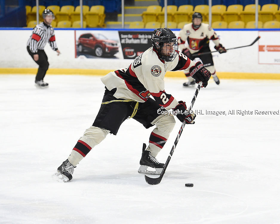 WHITBY, ON - Oct 9, 2015 : Ontario Junior Hockey League game action between Newmarket and Whitby, Nick Kalpousos #2 of the Newmarket Hurricanes skates with the puck during the third period.<br /> (Photo by Andy Corneau / OJHL Images)