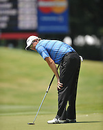 Retief Goosen reacts to missing a putt on the 8th hole at the PGA FedEx St. Jude Classic at TPC Southwind in Memphis, Tenn. on Sunday, June 12, 2011.