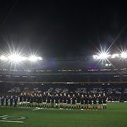 The All Blacks sing the National Anthem before the New Zealand V Australia Tri-Nations, Bledisloe Cup match at Eden Park, Auckland. New Zealand. 6th August 2011. Photo Tim Clayton