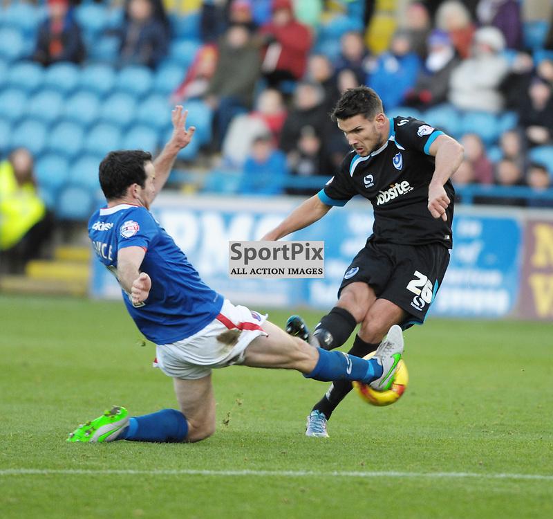 Gareth Evans (Portsmouth, black &amp; blue) and Luke Joyce (Carlisle, blue) <br /> <br /> Carlisle United v Portsmouth, SKY BET LEAGUE 2, 21st November 2015<br /> <br /> (c) Alex Todd | SportPix.org.uk