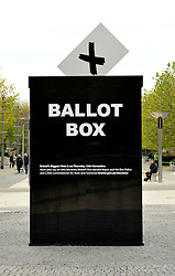 © Licensed to London News Pictures. 09/11/2012. Bristol, UK.  A giant ballot box in Bristol city centre.  Bristol was the only city in the UK to vote for a new mayor this year, and the election takes place on 15 November along with the election for Avon & Somerset police and crime commissioner.  09 November 2012..Photo credit : Simon Chapman/LNP