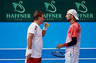 Sopot, Poland - 2018 April 06: (L) Marcin Matkowski  from Poland and (R) Lukasz Kubot from Poland while their training session one day before Poland v Zimbabwe Tie Group 2, Europe/Africa Second Round of Davis Cup by BNP Paribas at 100 years of Sopot Hall on April 06, 2018 in Sopot, Poland.<br /> <br /> Mandatory credit:<br /> Photo by © Adam Nurkiewicz / Mediasport<br /> <br /> Adam Nurkiewicz declares that he has no rights to the image of people at the photographs of his authorship.<br /> <br /> Picture also available in RAW (NEF) or TIFF format on special request.<br /> <br /> Any editorial, commercial or promotional use requires written permission from the author of image.