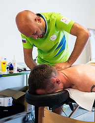 Primoz Jeralic of Slovenia having a physiotherapy session with physiotherapist Matej Kovac in the Paralympic Village 3 days ahead of the Rio 2016 Summer Paralympics Games on September 4, 2016 in Rio de Janeiro, Brazil. Photo by Vid Ponikvar / Sportida