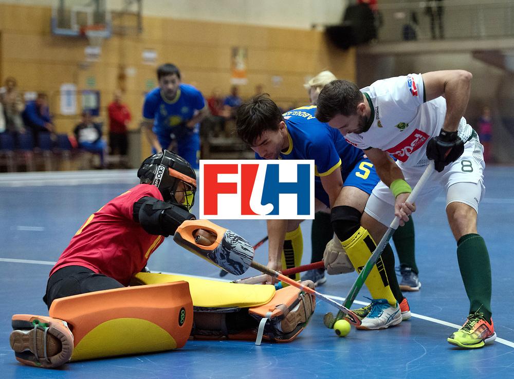 BERLIN - Indoor Hockey World Cup<br /> Kazakhstan - South Africa<br /> foto: Wade Paton ,Yerzhan Yelubayev (GK)  and Ilgam Abdulabayev <br /> WORLDSPORTPICS COPYRIGHT FRANK UIJLENBROEK