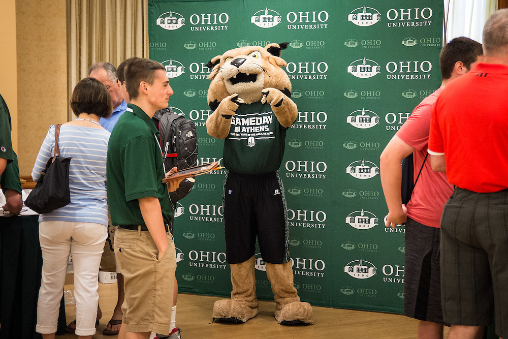 Rufus poses for the camera while awaiting the arrival of members of the class of 2019 at Bobcat Student Orientation on Friday, June 5, 2015.  Photo by Ohio University  /  Rob Hardin