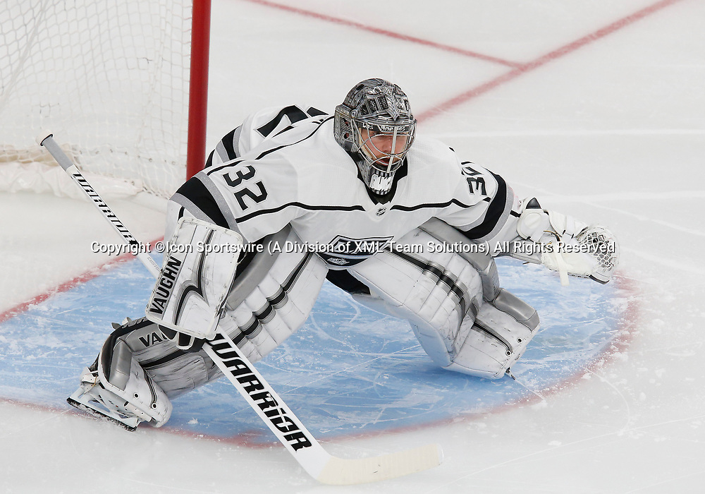 LAS VEGAS, NV - APRIL 11: Los Angeles Kings goaltender Jonathan Quick (32) guards the goal during Game One of the Western Conference First Round of the 2018 NHL Stanley Cup Playoffs between the L.A. Kings and the Vegas Golden Knights Wednesday, April 11, 2018, at T-Mobile Arena in Las Vegas, Nevada. (Photo by: Marc Sanchez/Icon Sportswire)