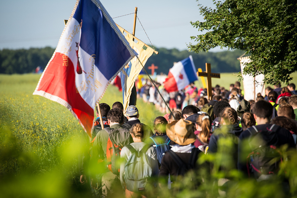 Thousands of people participate every Pentecost weekend in the Notre Dame de Chretiente pilgrimage which covers 100 kilometers by foot between Paris and Chartres.