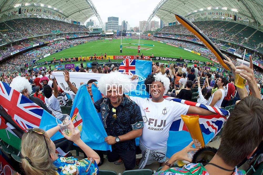 Fijian Fans at Hong Kong stadium in the Cathay Pacific/HSBC Hong Kong 7s at Hong Kong Stadium, Hong Kong, Hong Kong on 7 April 2017. Photo by Ian  Muir.*** during *** v *** in the Cathay Pacific/HSBC Hong Kong 7s at Hong Kong Stadium, Hong Kong, Hong Kong on 7 April 2017. Photo by Ian  Muir.