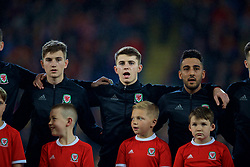 CARDIFF, WALES - Tuesday, November 14, 2017: Wales' David Brooks, Ben Woodburn and Neil Taylor sing the national anthem before the international friendly match between Wales and Panama at the Cardiff City Stadium. (Pic by David Rawcliffe/Propaganda)