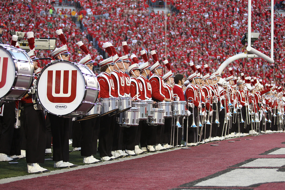 MADISON, WI - OCTOBER 16: The band of the Wisconsin Badgers marches on the field against the Ohio State Buckeyes at Camp Randall Stadium on October 16, 2010 in Madison, Wisconsin. Wisconsin defeated Ohio State 31-18.(Photo by Tom Hauck)