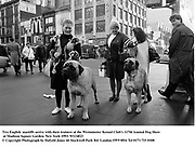 Two English  mastiffs arrive with their trainers at the Westminster Kennel Club's 117th Annual Dog Show at Madison Square Garden.New York 1993.<br />© Copyright Photograph by Dafydd Jones<br />66 Stockwell Park Rd. London SW9 0DA<br />Tel 0171 733 0108