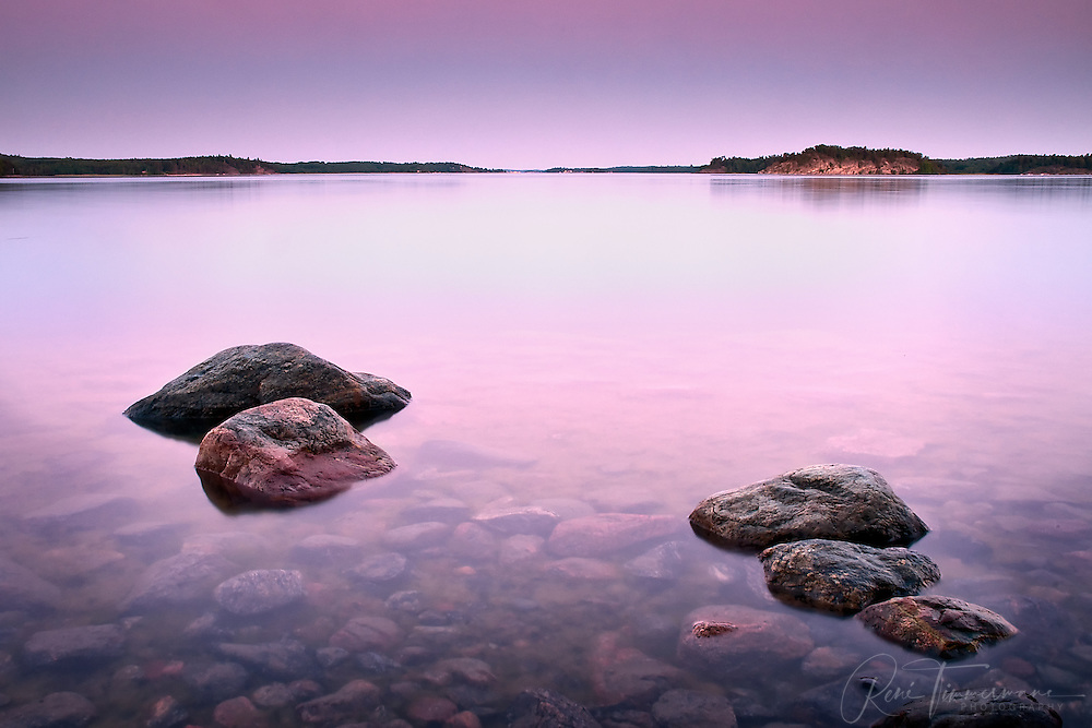 Sunset over the coastline of Farstanäs, south of Stockholm.