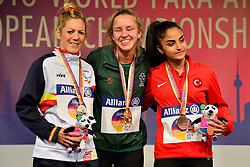 Medalists in the T13 1500m from left to right Izaskun Oses Ayucar, ESP, silver Medal, Greta Streimikyte, IRE, Gold Medal, Asli Adali, TUR, Bronze Medal at the Berlin 2018 World Para Athletics European Championships