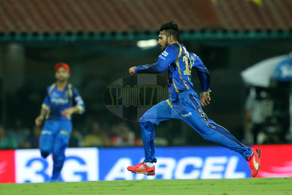 Ankit Sharma of Rajasthan Royals during match 47 of the Pepsi IPL 2015 (Indian Premier League) between The Chennai Superkings and The Rajasthan Royals held at the M. A. Chidambaram Stadium, Chennai Stadium in Chennai, India on the 10th May 2015.Photo by:  Prashant Bhoot / SPORTZPICS / IPL
