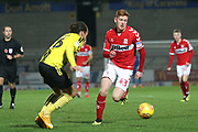 Connor Malley of Middlesbrough (43) takes on Marcus Myers-Harness of Burton Albion (16) during the EFL Trophy group stage match between Burton Albion and U21 Middlesbrough at the Pirelli Stadium, Burton upon Trent, England on 7 November 2018.
