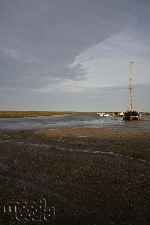 UK Norfolk sailboat in bay