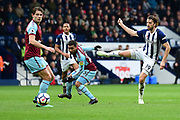 West Bromwich Albion striker Jay Rodriguez (19) shoots during the Premier League match between West Bromwich Albion and Burnley at The Hawthorns, West Bromwich, England on 31 March 2018. Picture by Dennis Goodwin.