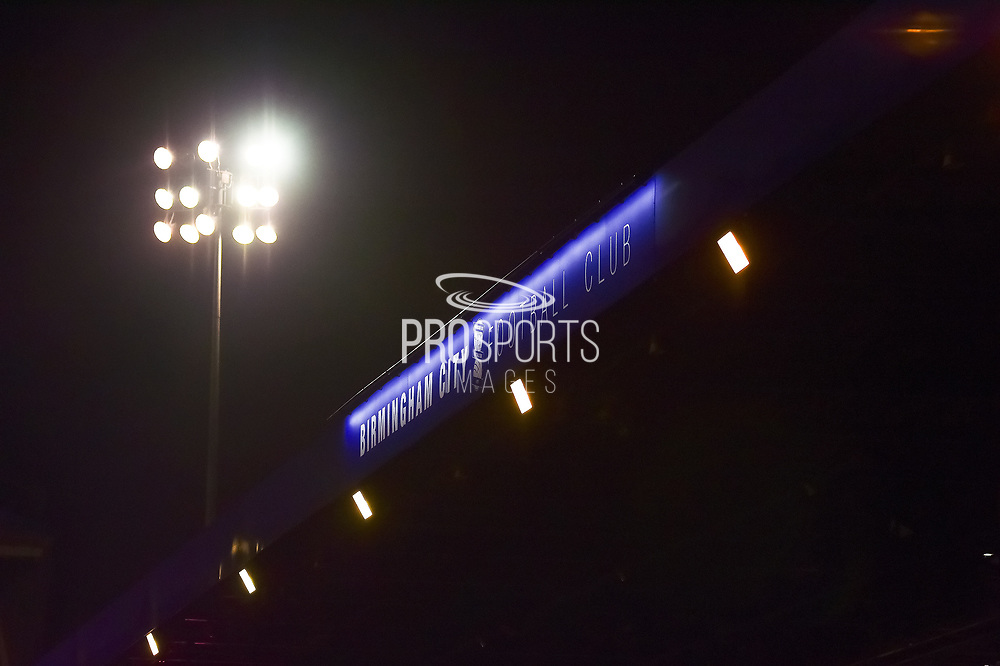 Birmingham City signage on main stand illuminated by floodlights during the EFL Sky Bet Championship match between Birmingham City and Brentford at St Andrews, Birmingham, England on 1 November 2017. Photo by Dennis Goodwin.