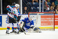KELOWNA, CANADA - AUGUST 31: Dean McNabb #35 of the Victoria Royals makes a save on a shot by Mark Liwiski #9 of the Kelowna Rockets during first period on August 31, 2018 at Prospera Place in Kelowna, British Columbia, Canada.  (Photo by Marissa Baecker/Shoot the Breeze)  *** Local Caption ***