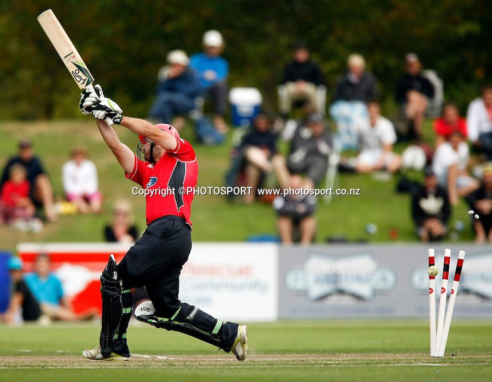 Canterbury batsman Shanan Stewart is bowled. Canterbury Wizards v Auckland Aces in the One Day Competition Final. QEII Park, Christchurch, New Zealand. Sunday, 13 February 2011. Joseph Johnson / PHOTOSPORT.