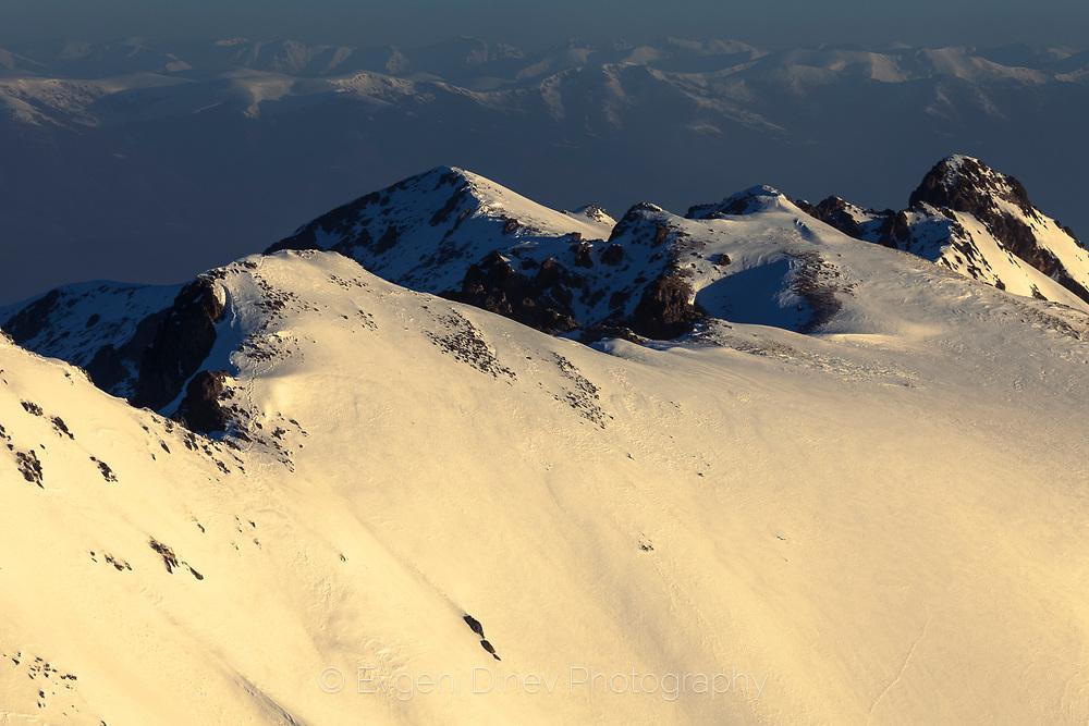 Snowy Pirin Mountain peaks in winter