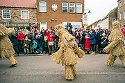 UNITED KINGDOM, Whittlesey: Straw Bear Festival. Straw Bears, supposedly mischievous characters made of straw, perform at the Straw Bear festival this weekend.  The three day festival, which originated in 1882, consists of traditional Molly, Morris, Clog and Sword dancing as well as parading a large straw character known as 'The Bear' through the town. Rick Findler  / Story Picture Agency