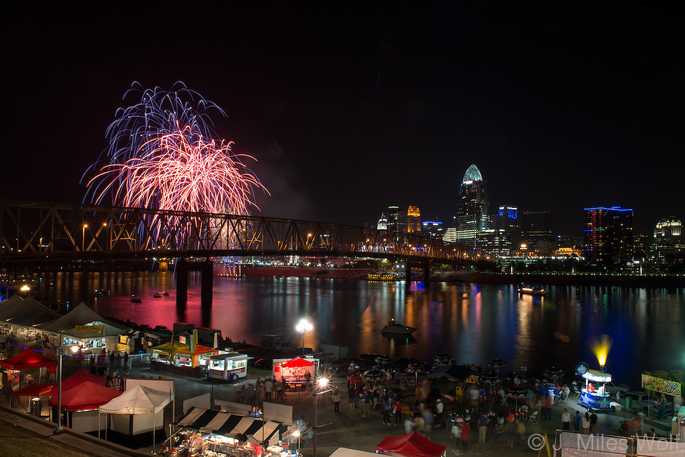 Fireworks seen from Newport in Northern Kentucky