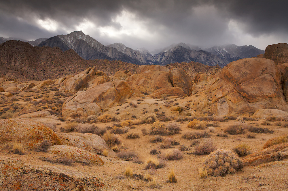 The Eastern Sierra Nevada Mountains from the Alabama Hills. Alabama Hills Recreation Area, CA.
