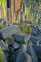 Basalt rock pillars at dusk in central Oregon USA.