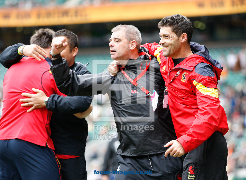 "Picture by Andrew Tobin/Focus Images Ltd +44 7710 761829.12/05/2013.Ignacio ""Tiki"" Inchausti (R) Spanish coach celebrates Spain beat Portugal 10-5 to move into the core group of countries for next season during the Emirates London 7s at Twickenham Stadium, Twickenham."