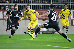 28.10.2014, Millerntor, Hamburg, GER, DFB Pokal, FC St. Pauli vs Borussia Dortmund, 2. Runde, im Bild l-r: im Zweikampf, Aktion, mit Marco Reus #11 (Borussia Dortmund) und Soeren Gonther #26 (FC St. Pauli) // during German DFB Pokal 2nd round match between FC St. Pauli and Borussia Dortmund at the Millerntor in Hamburg, Germany on 2014/10/28. EXPA Pictures © 2014, PhotoCredit: EXPA/ Eibner-Pressefoto/ Kolbert<br /> <br /> *****ATTENTION - OUT of GER*****