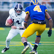 Georgia Southern QB #14 Jaybo Shaw with the ball during The Division I FCS Championship Semifinals at Delaware. No. 3 Delaware defeats Georgia Southern 27-10 on a cold Saturday afternoon at Delaware stadium in Newark Delaware...Delaware will head to Texas for the Division I FCS National Championship Game Vs Eastern Washington eagles who defeated Villanova 41-31 friday night in Washington..