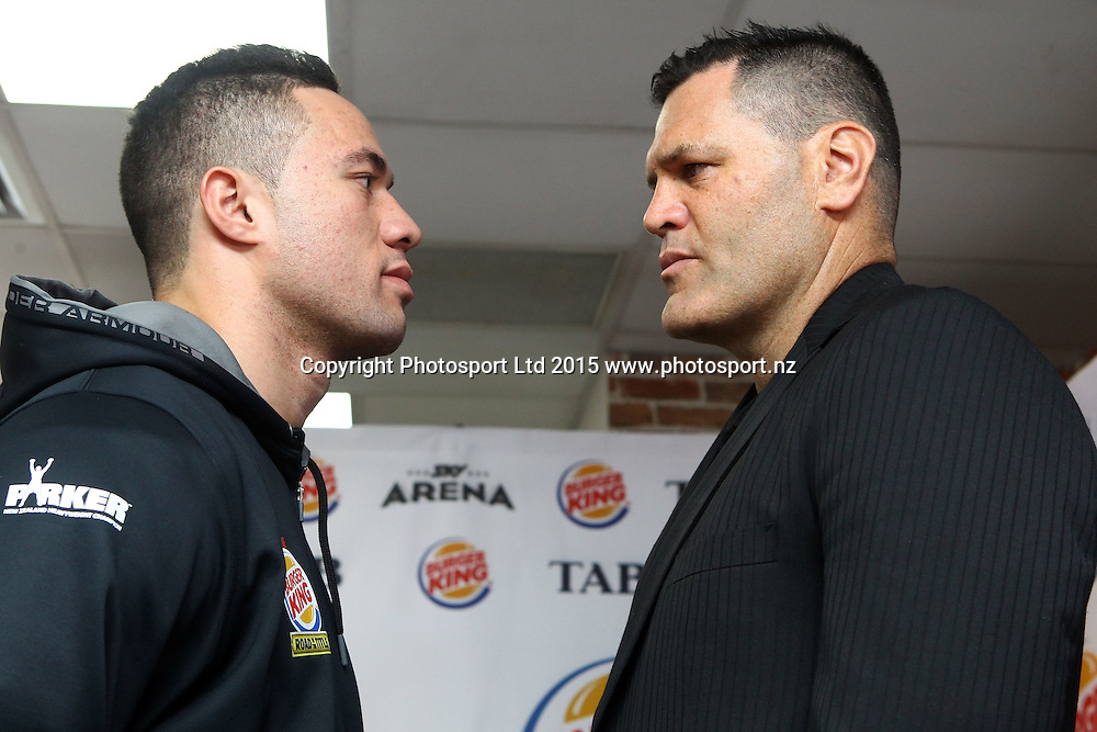 Joseph Parker (L) and Kali Meehan, Burger King, Road to the Title press conference ahead of Thursdays boxing event. Burger king Lincoln Rd, Auckland. 13 October 2015. Copyright Photo: William Booth / www.photosport.nz