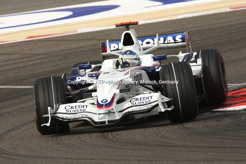 Nick Heidfeld, BMW-Sauber. Formula One Grand Prix. Shakir Circuit, Bahrain. 6 March 2008. Photo: ATP/PHOTOSPORT