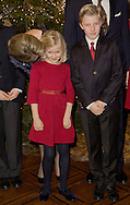 Brussels,16-12-2015<br /> <br /> <br /> King Filip and Queen Mathilde with their children pose with the Christmas Tree and attend a Christmas Concert.<br /> <br /> Photo; Royalportraits Europe/Bernard Ruebsamen