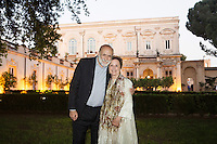 ROME, ITALY - 3 JUNE 2015: (L-R) President of Slow Food Carlo Petrini and chef Alice Waters pose for a portrait at the McKim Medal Gala honouring Carlo Petrini and Paolo Sorrentino at the American Academy  in Rome, Italy, on June 3rd 2015.