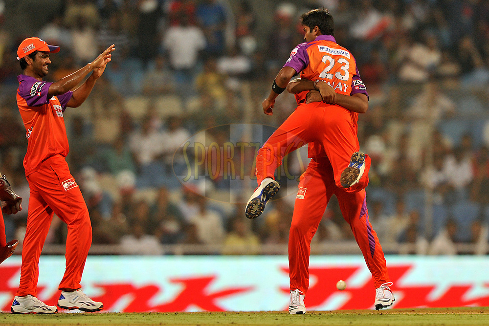 Vinay Kumar of Kochi Tuskers Kerala celebrate the wicket of Jessy Ryder of Pune Warriors India during  match 10 of the Indian Premier League ( IPL ) Season 4 between the Pune Warriors and the Kochi Tuskers Kerala held at the Dr DY Patil Sports Academy, Mumbai India on the 12th April 2011..Photo by Pal Pillai /BCCI/SPORTZPICS