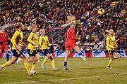 USA midfielder Lindsay Horan (9) heads the ball towards goal during an international friendly women's soccer match against Sweden, Thursday, Nov. 7, 2019, in Columbus, Ohio. USA defeated Sweden 3-2 . (Jason Whitman/Image of Sport)