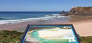 Sign at mirador viewpoint over Maravilha beach, Praia de Odeceixe, Algarve, Portugal, Southern Europe