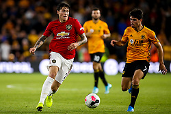 Victor Lindelof of Manchester United takes on Pedro Neto of Wolverhampton Wanderers - Mandatory by-line: Robbie Stephenson/JMP - 19/08/2019 - FOOTBALL - Molineux - Wolverhampton, England - Wolverhampton Wanderers v Manchester United - Premier League