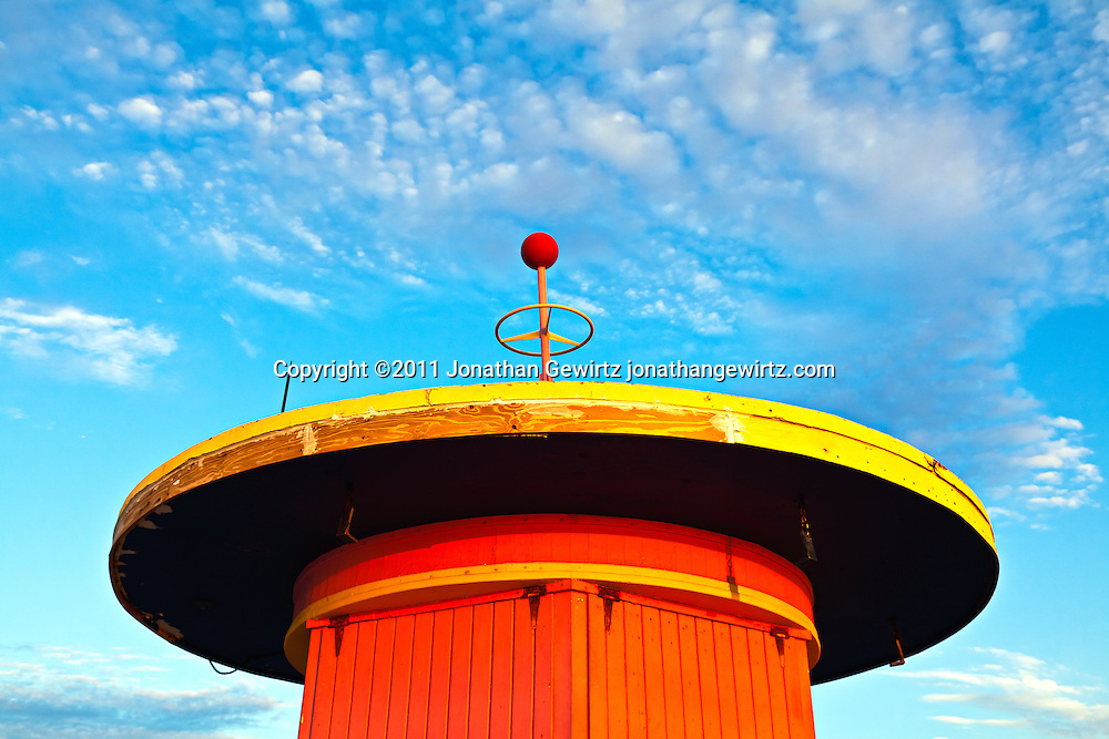 A lifeguard hut on South Miami Beach just before sunrise. WATERMARKS WILL NOT APPEAR ON PRINTS OR LICENSED IMAGES.