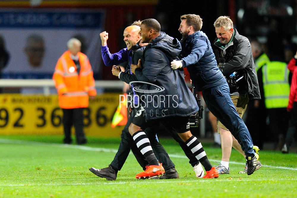 Exeter City manager Paul Tisdale celebrates the 3-2 win over Carlisle at full time during the EFL Sky Bet League 2 play off second leg match between Exeter City and Carlisle United at St James' Park, Exeter, England on 18 May 2017. Photo by Graham Hunt.
