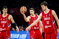 Vladimir Lucic of Serbia, Dragan Milosavljevic of Serbia and Ognjen Kuzmic of Serbia during basketball match between National Teams of Russia and Serbia at Day 16 in Semifinal of the FIBA EuroBasket 2017 at Sinan Erdem Dome in Istanbul, Turkey on September 15, 2017. Photo by Vid Ponikvar / Sportida