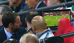 November 15, 2018 - London, United Kingdom - England's Manager Gareth Southgate  looking at TV Monitor during the friendly soccer match between England and USA at the Wembley Stadium in London, England, on 15 November 2018. (Credit Image: © Action Foto Sport/NurPhoto via ZUMA Press)