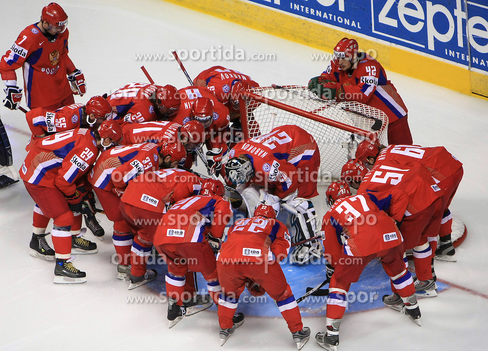 Team Russia before  ice-hockey game Canada vs Russia at finals of IIHF WC 2008 in Quebec City,  on May 18, 2008, in Colisee Pepsi, Quebec City, Quebec, Canada. (Photo by Vid Ponikvar / Sportal Images)